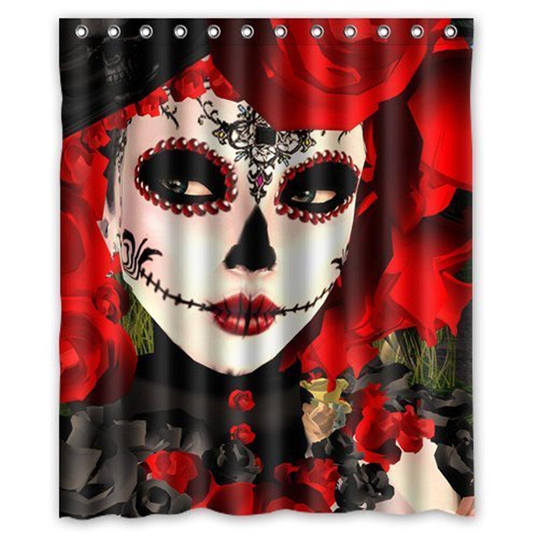 "Yestore Superior Custom Dia De Los Muertos Suger Skull WaterProof Polyester Fabric 60"" x 72"" Shower Curtain"