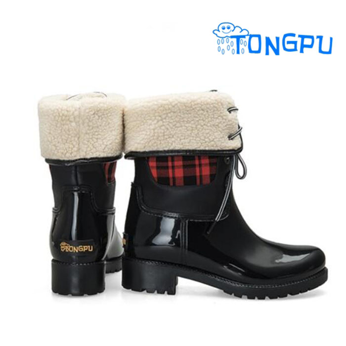 Women Fashion Warm Plaid Dress Girls Rain <strong>Boots</strong>