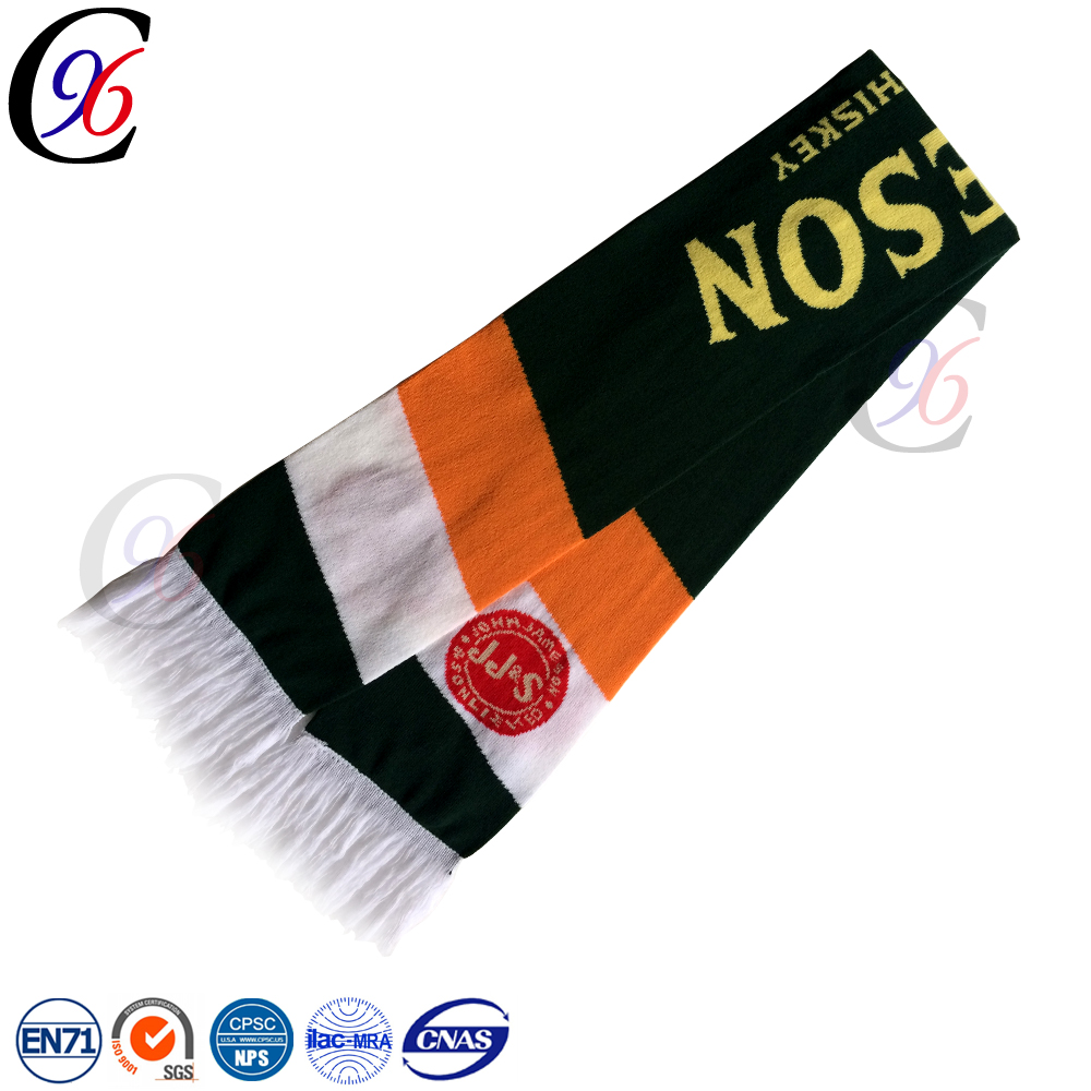Chengxing custom neck plaid hot selling jacquard pattern fringe crochet soccer fans acrylic knitting football hockey scarf