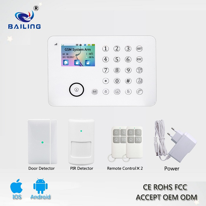 Best home security product TFT touch screen GSM wireless burglar alarms