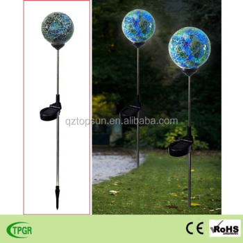 Beau Mosaic Paste Glass Metal Plug In Globe Solar Stake For Garden Solar Light