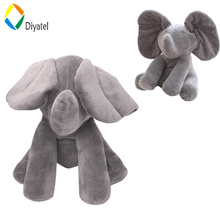 Diyatel Wholesale New Product Peek A Boo Elephant Stuffed Animals Plush Elephant Doll Play Music Elephant