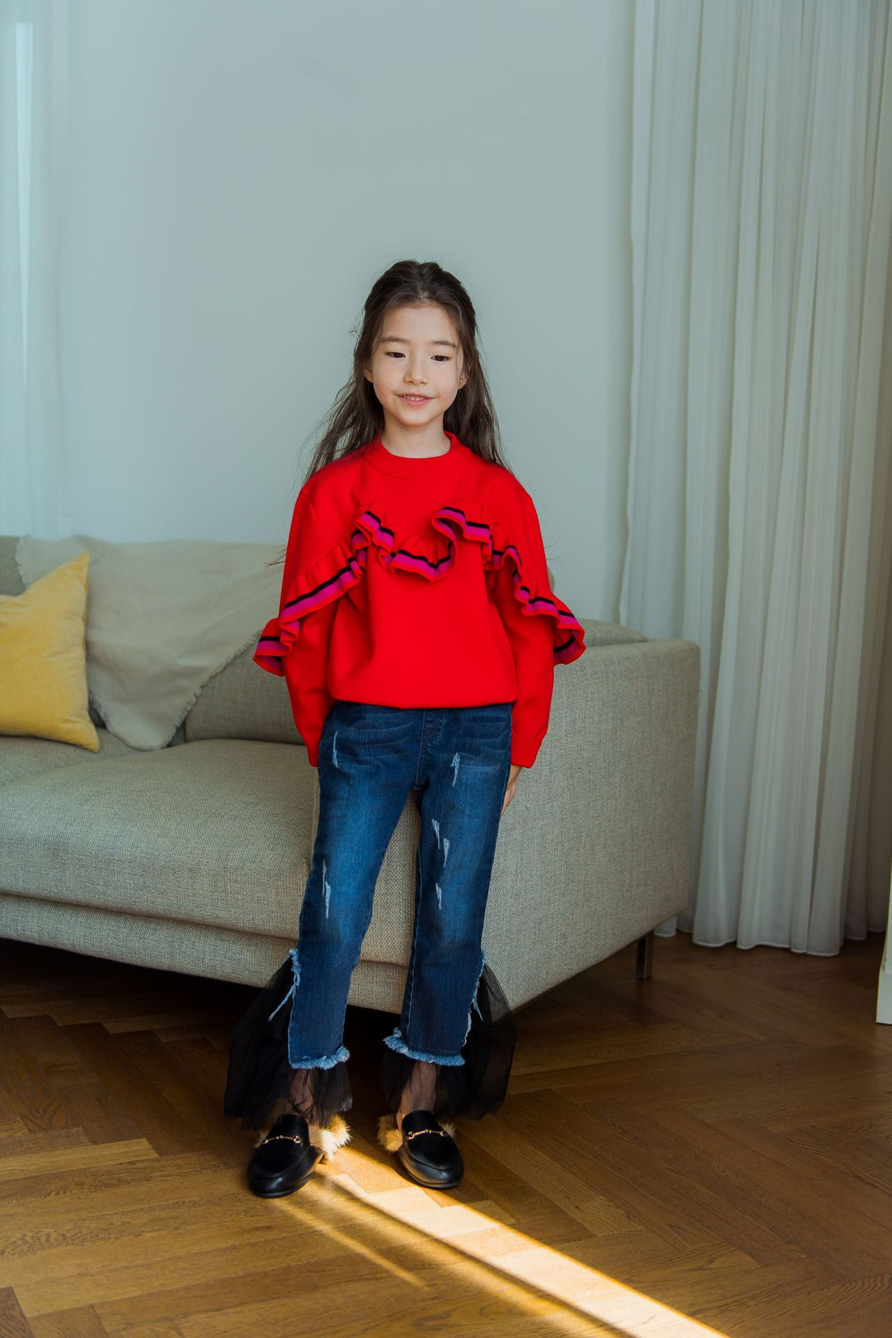S52735A   New Girls Sweater Knitwear children's red pullover