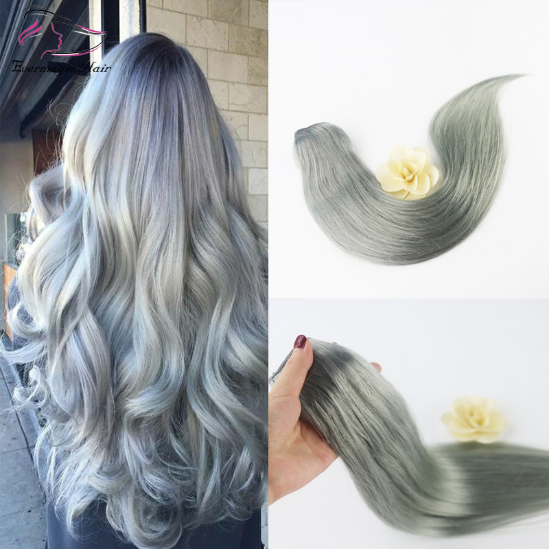 Brazilian Human Hair Full Head Clip in Hair Extensions Color Silver One Piece 5 Clips Skilly Straight 65 grams