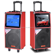 Trolley portable battery powered speaker with high power 14 inch LCD screen,USB,SD ,FM Radio