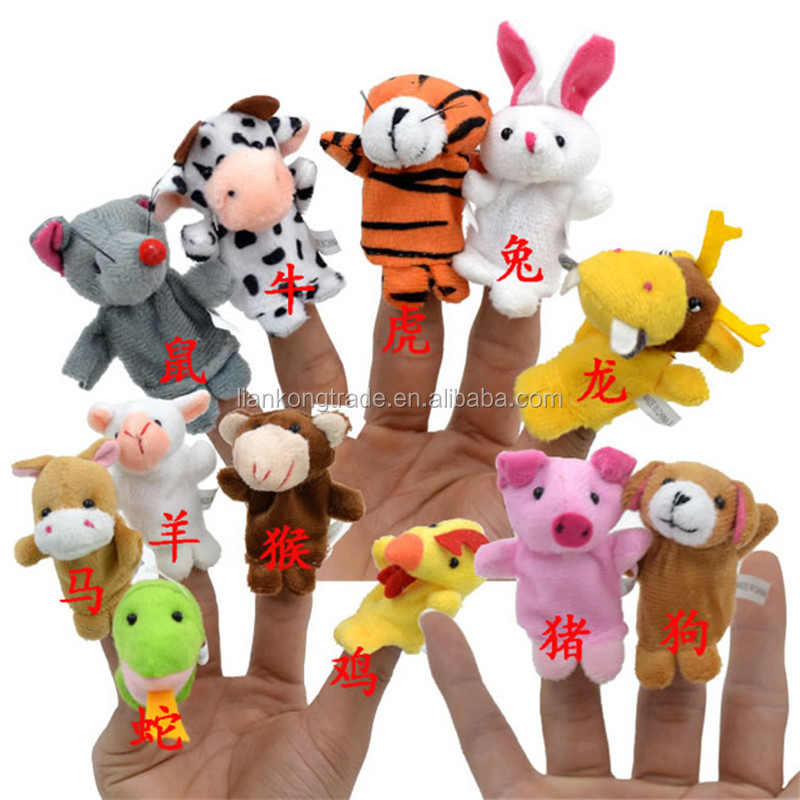 Hotsale 12 Zodiac mini Animal 12Pcs/Set Plush Animal Finger Puppet toys For Kids