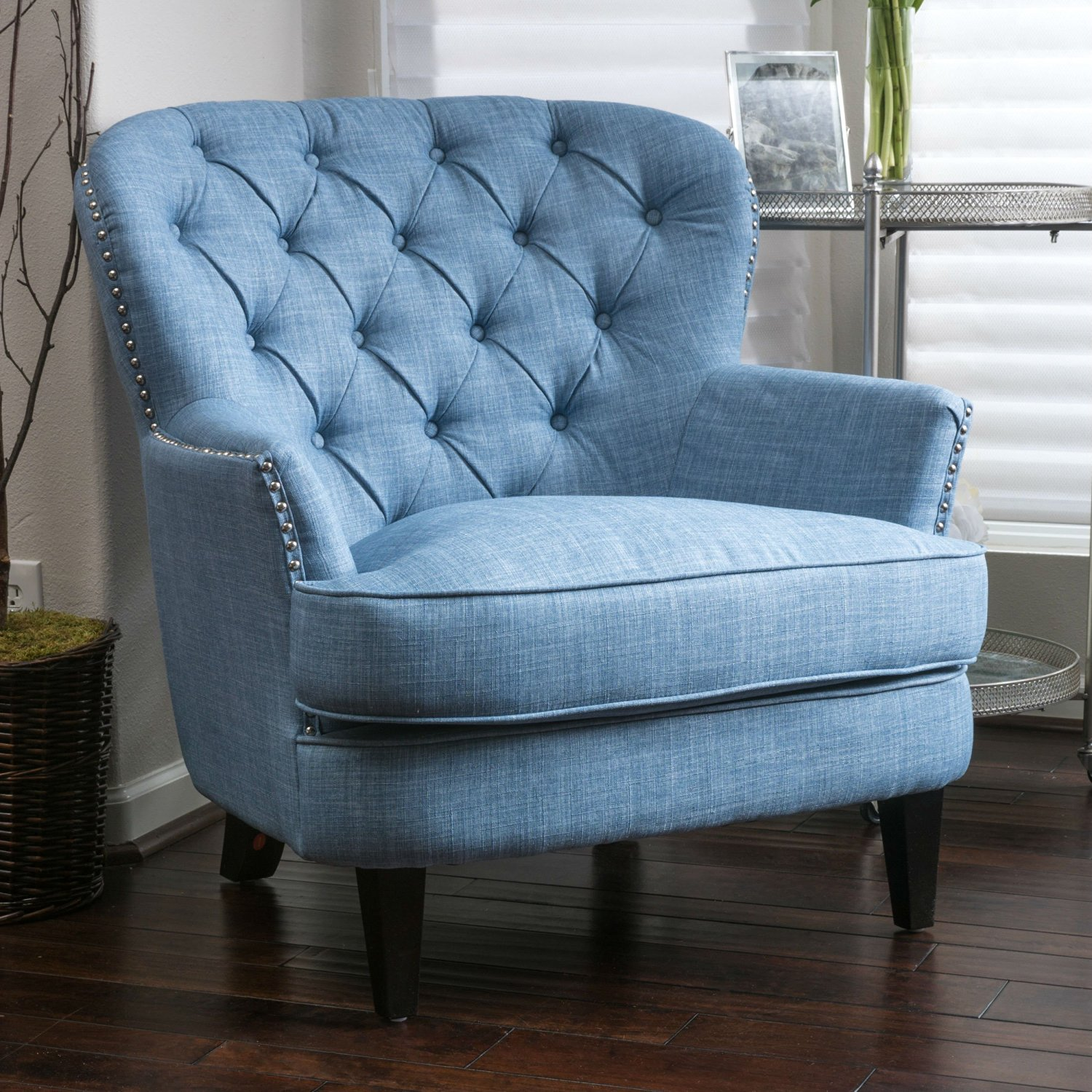 This High Back Club Chair Is A Modern Living Room Must. Features A Blue  Upholstered