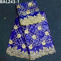 New Blue Bazin Riche Fabric Embroidery Beaded Lace, High Quality Bazin riche broderie with 2Y Net Lace