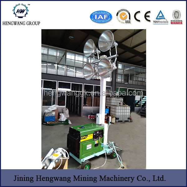 HW Power Remote control mobile light tower, used light tower, fire truck ligh wiht 2 x 400W Metal halide lamp mobile light tower