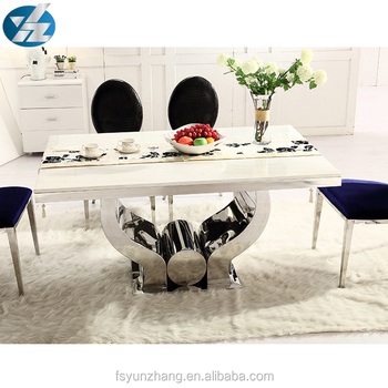 Stone Top Round Pedestal Dining Table