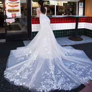 Heavy Lace Wedding Gowns Mermaid Bridal Gowns Long Sleeve Wedding Dresses 2019 Africa Bridal Wedding Gown with Fishtail A211
