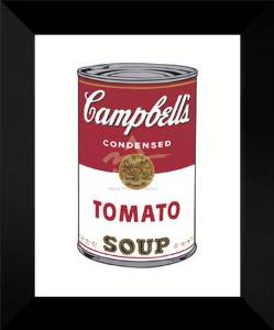 "Andy Warhol Framed Pop Art 18x15 ""Campbell's Soup I (Tomato), 1968"""
