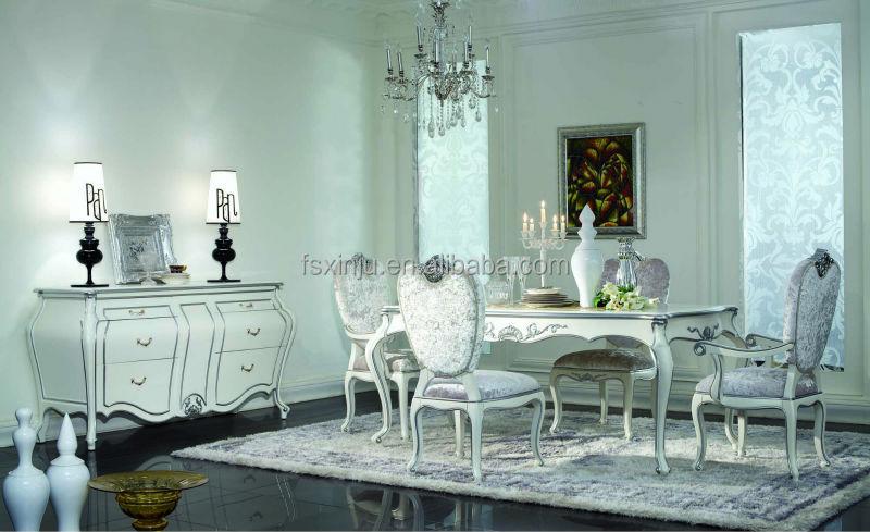 Mobili per la casa sala da pranzo classico tavolo da pranzo in legno e sedie bianco set di - Mobili per sala da pranzo classici ...