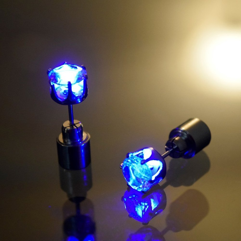 Led Earrings 1 Pair Light Up Studs Glowing Diamond Crown Shaped Glow Flashing