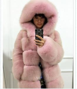 Woman Winter Fox Fur Coat With Good Quality Dusty Pink