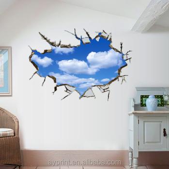 Ay8015 3d Effekt Durchbrochene Wand Der Blaue Himmel Und Weiße