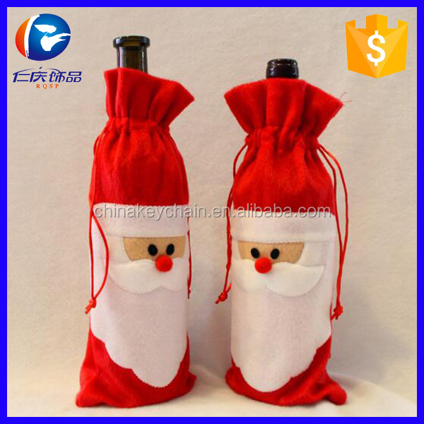 New Qualified Red Wine Bottle Cover Bags Decoration Home Party Santa Claus <strong>Christmas</strong>