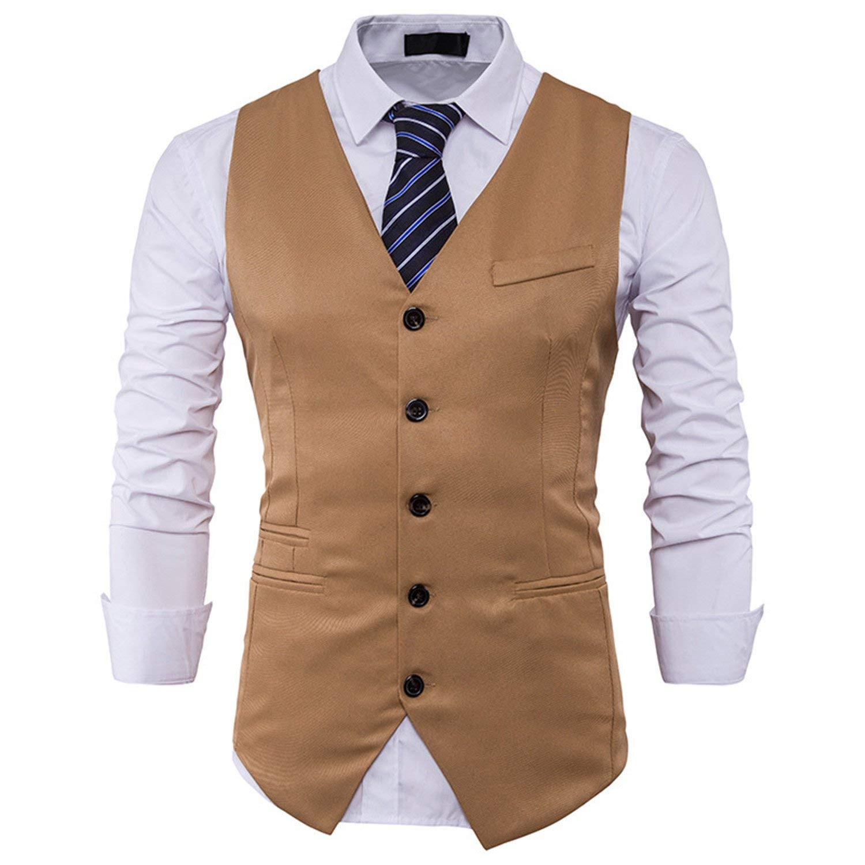Jwhui Mens Suit Vest Sleeveless Male Waistcoat Slim Fit Vest Waistcoat Wedding Social Blazer