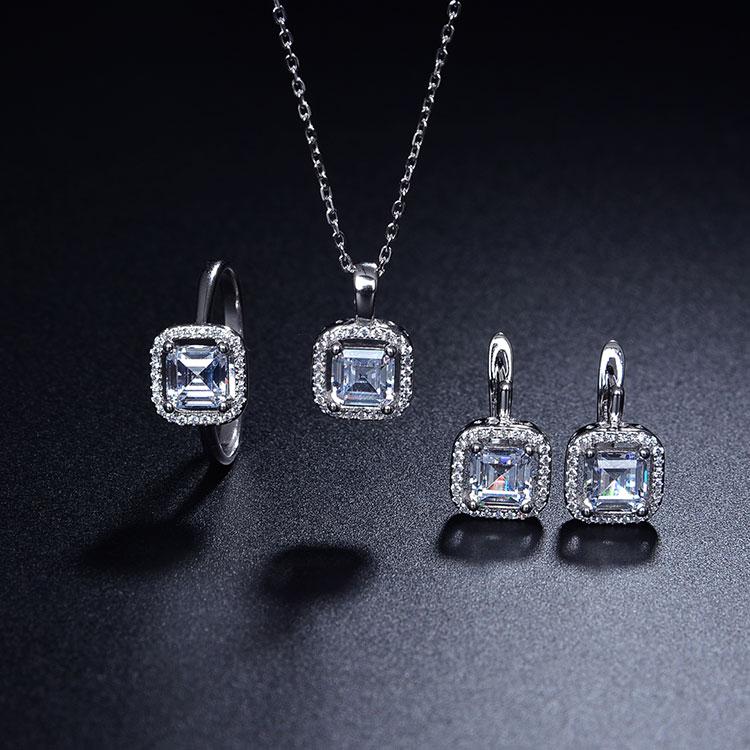 Fashion  Wedding Bridal Sliver Jewelry Ring Earring Necklace Set