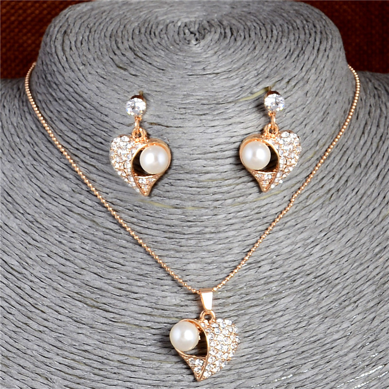 Hesiod Love Heart Pendant Necklace With Stud Earrings Gold Color Chain Simulated Pearl Crystal Jewelry Set For Wedding Aliexpress