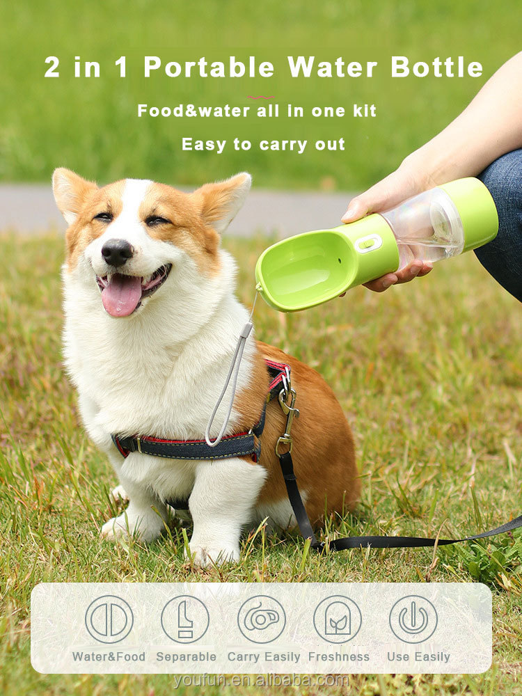 New Fashion Feeding Water Two In One Multi-function Portable Convenient Outdoor Small Pet Water Bottle Cup For Dogs