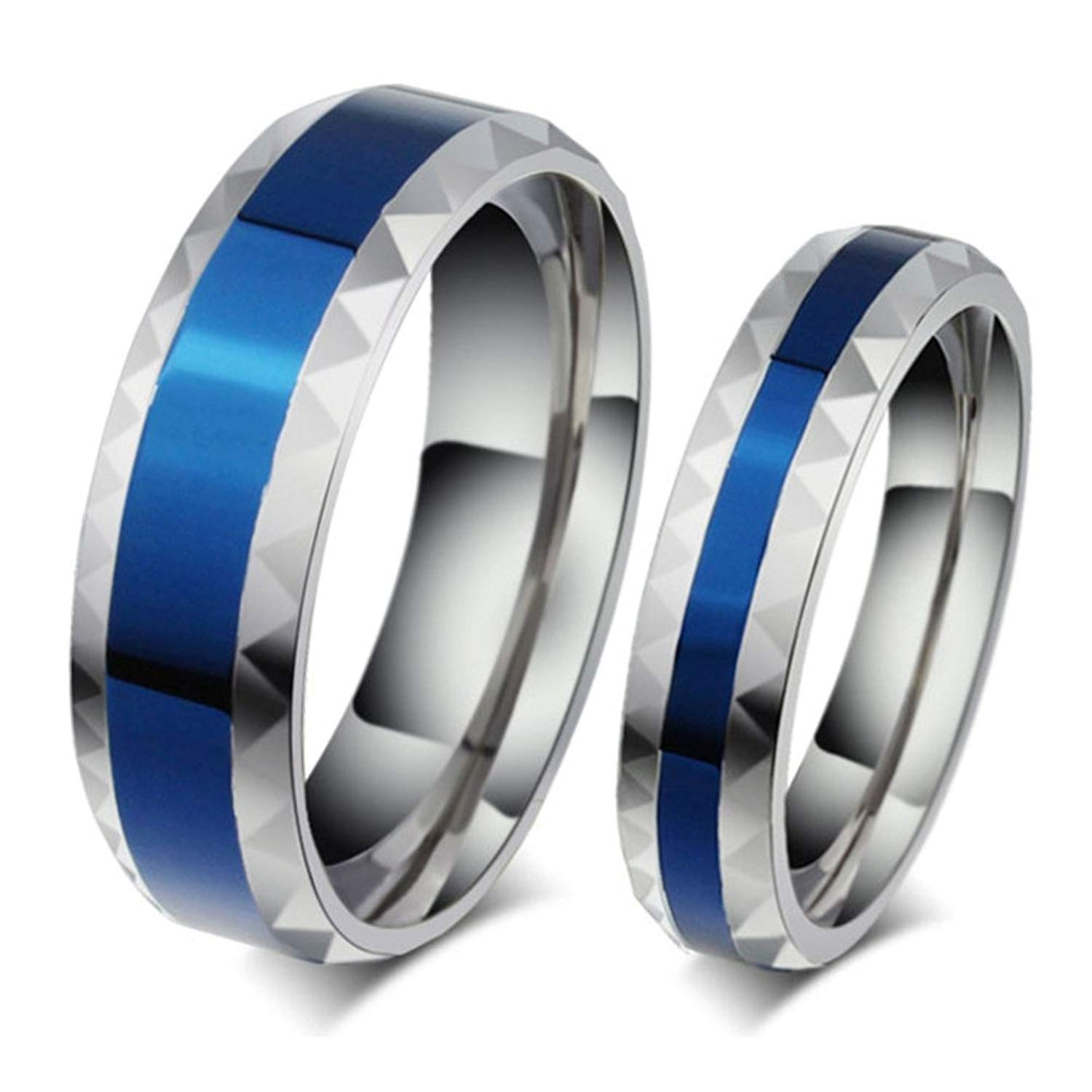 2d7991672a Get Quotations · Mens Womens Forever Love Promise Couples Rings for Him or  Hers Romantic Blue Elegant Titanium Steel