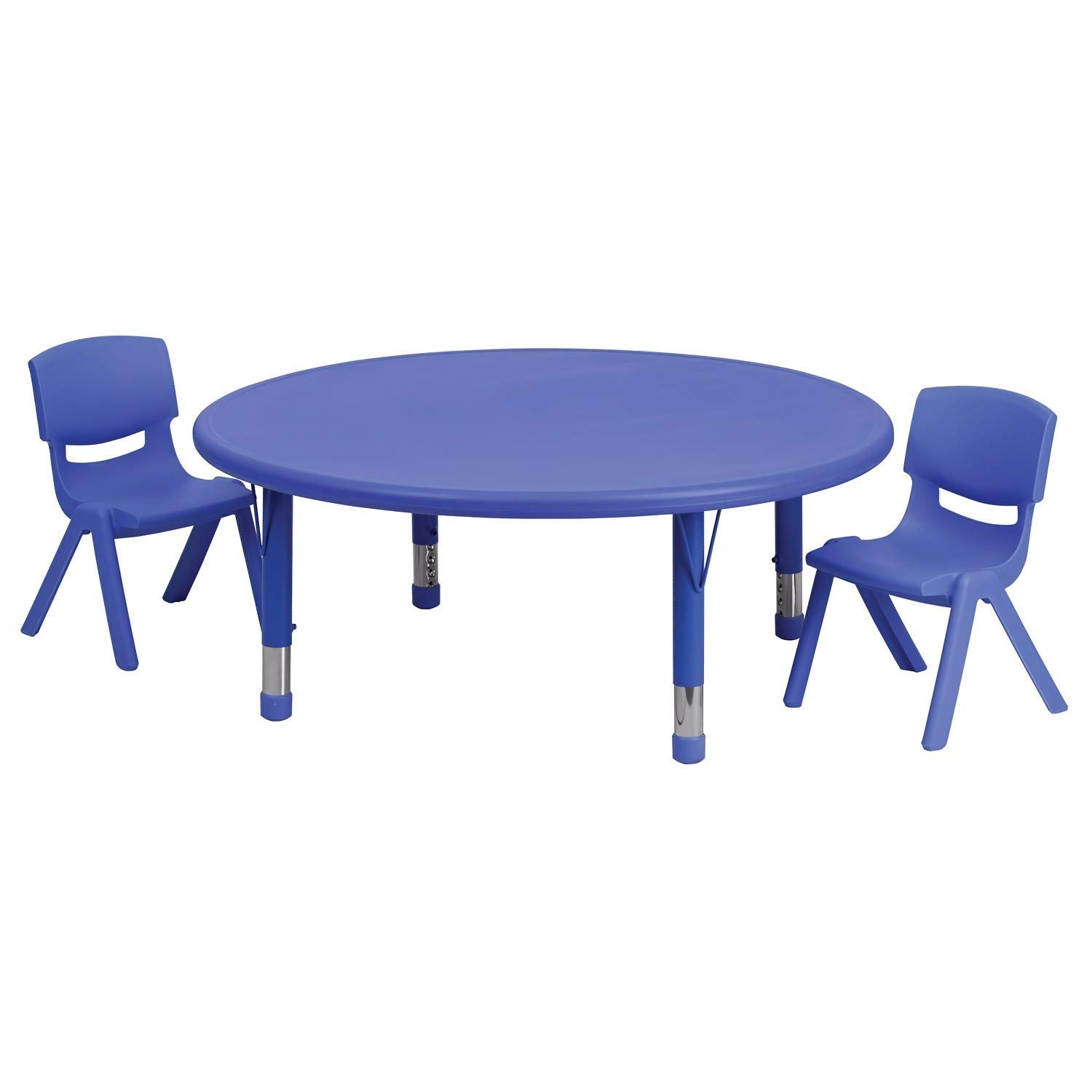 Offex 45'' Round Plastic Height Adjustable Activity Table Set with 2 Chairs - Blue