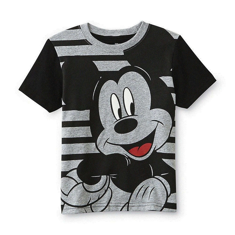 4066c237da Get Quotations · Mickey Mouse Toddler Little Boys Black Grey Stripes Short  Sleeve T-Shirt