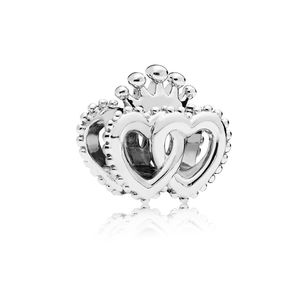 2018 Hot Sell 925 Sterling Silver Royal Crown Hearts Charm