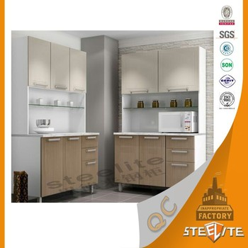 Transfer Print Wood Grain Stainless Steel Kitchen Cabinet Wall Mounted Cupboard