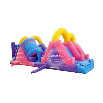 NEVERLAND TOYS Outdoor Inflatable Obstacle Course Lovely Pink Obstacle with Slide Kids Inflatable Playground for Sale