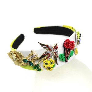 Victoria baroque vintage elegant Fashion animal bird crystal rhinestone flower embellished headband