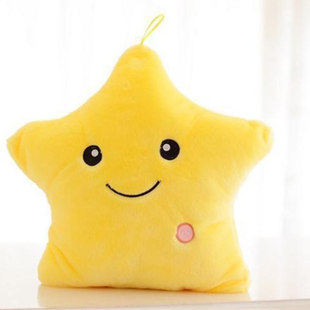 Creative Glowing LED 7 Colour Night Light Plush Pillow Stuffed Baby Toys (yellow)