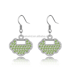 latest Gold plated jewelry CZ micro pave wish lock fashion drop earrings