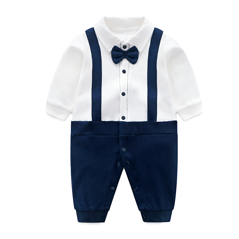 YiErYing 신생아 옷 Baby 패션 100% 면 Baby Boy Romper Navy 끈 신생아의 옷