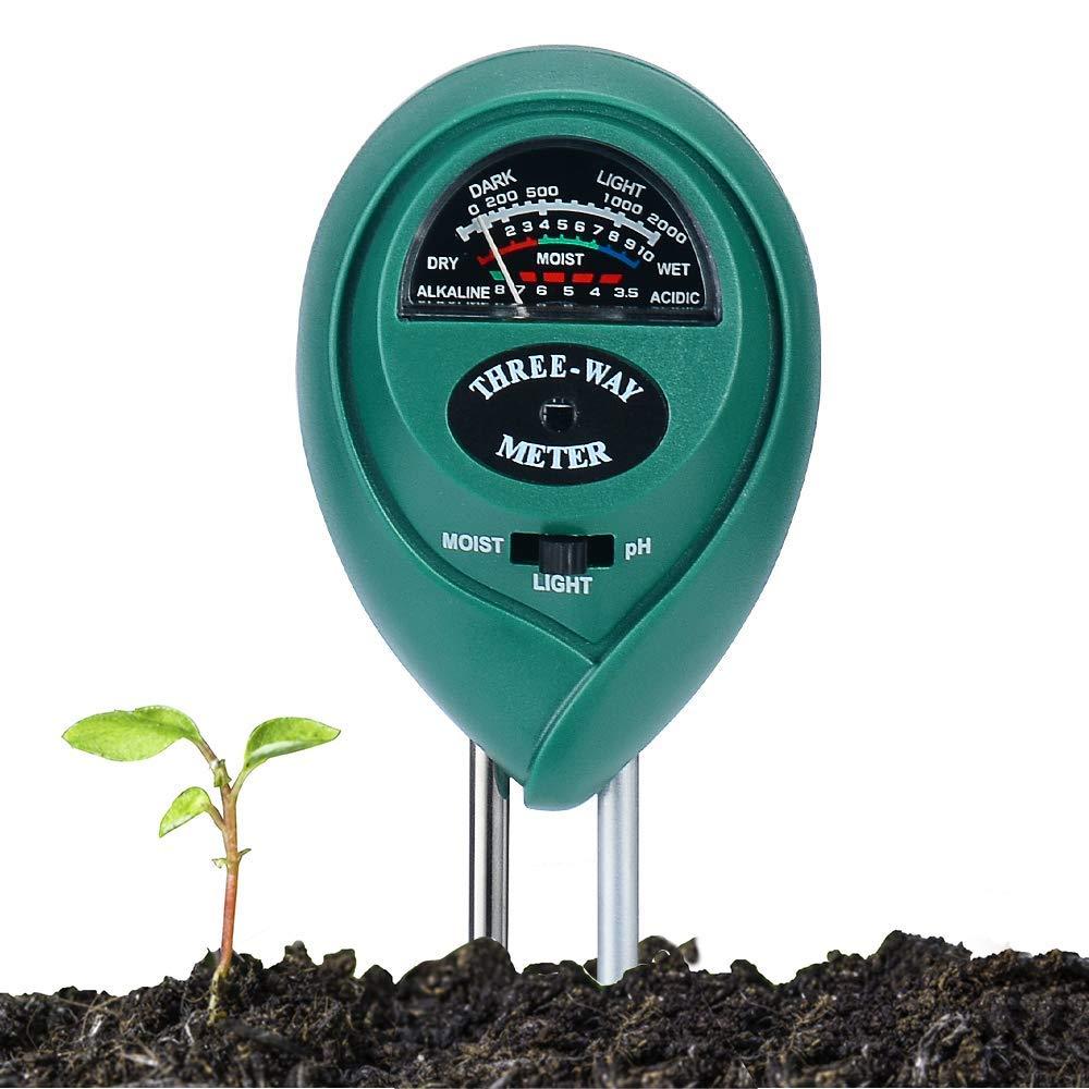 Soil pH Meter 3-in-1 Soil Test Kit for pH Acidity, Light & Moisture, Soil pH Test Kit for Yard, Garden, Farm, Lawn Testing, Flower Pot Moisture Meter Soil Tester (No Battery Needed)