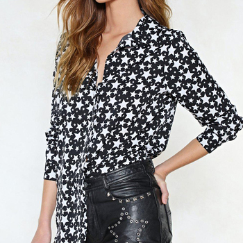 Factory designs printed star type loose blouse long sleeve ,women tops and blouses
