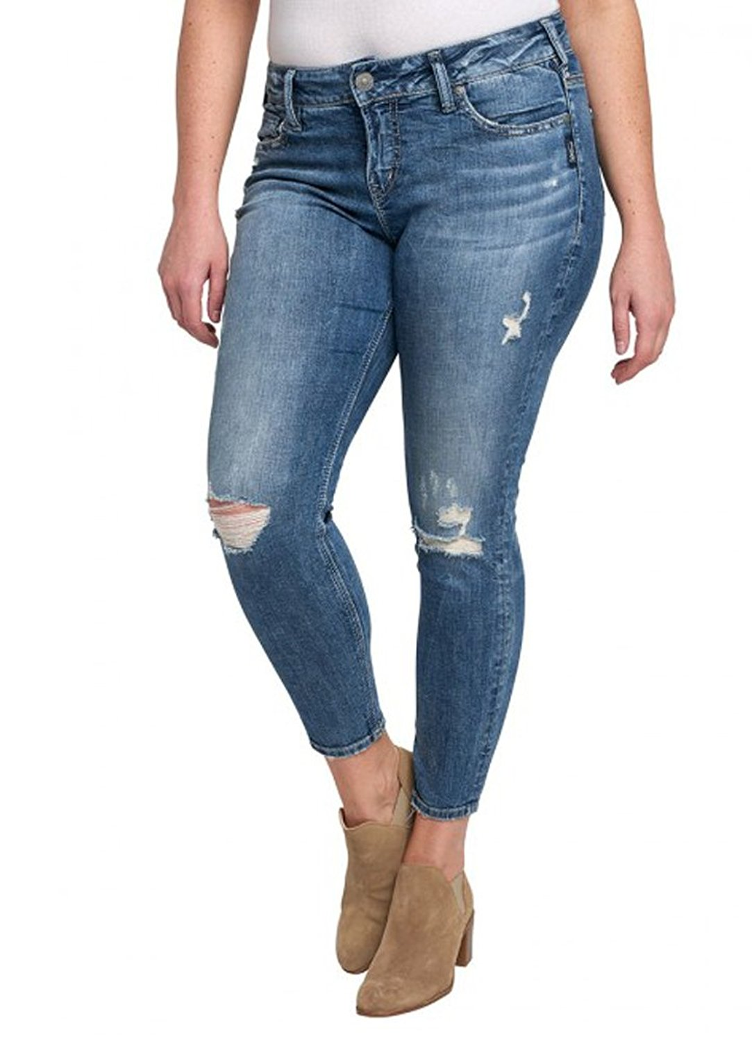 03a4800bf79 Get Quotations · Silver Jeans Women s Plus Size Suki Mid-Rise Ankle Skinny Jeans  Dark Wash