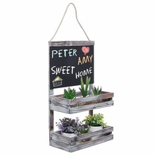 Hanging Country Rustic Brown Wood 2 Tier Plant / Flower Planter Pot Shelf Display Rack Chalkboard Sign