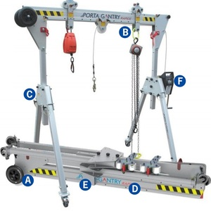 500kg Hot sale small warehouse used portable mini mobile adjustable lifting aluminum gantry crane with hand chain block