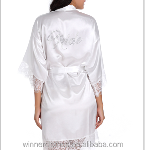 women bride satin short with lace kimono robe silk bride bathrobe satin robe
