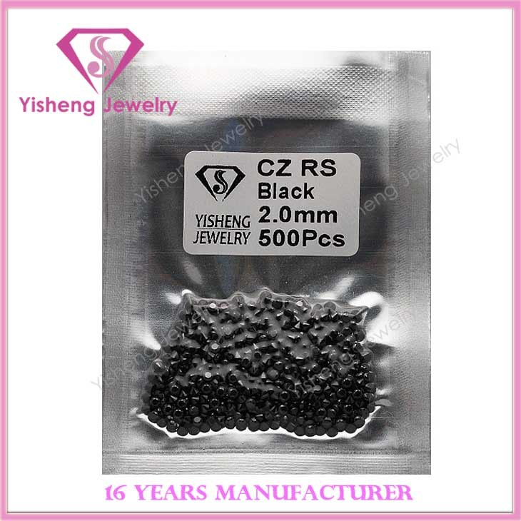 2.0mm Faceted Synthetic CZ Rough Black <strong>Diamond</strong>