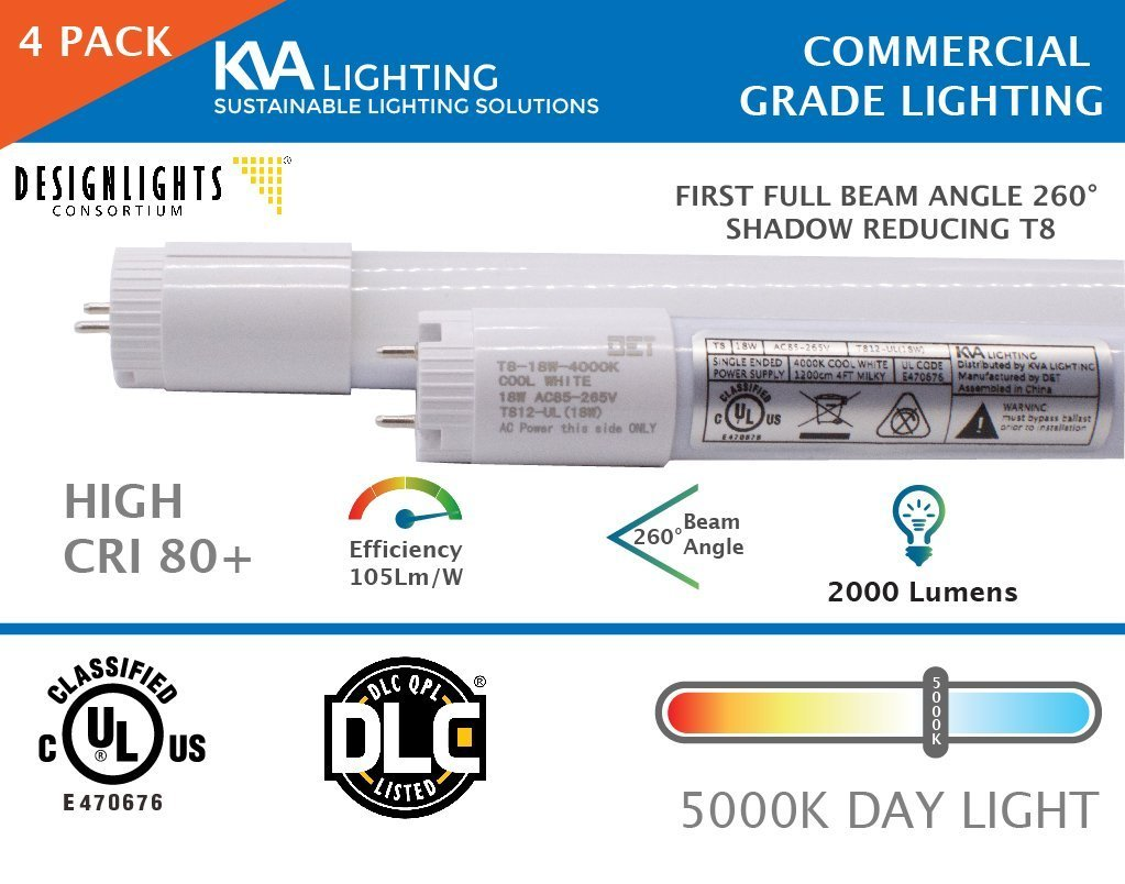 KVA - T812-UL(18W), LED T8 Replacement Tubes, Unique 260 Degree, T8 LED Tube Light 18W (36W Equivalent), 4 Foot, [4 Pack] Frosted, 5000K Daylight LED T8 Light Tube. Use: Shop Lighting, Office, Garage