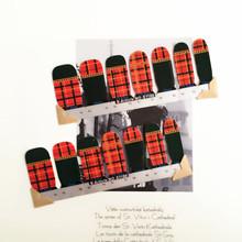 Red Black LatticeNail Arts Sticker 14 pcs set Waterproof Nail Decal Art Sticker Gel Polish Manicure