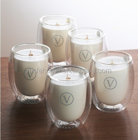 quality scented candles in fashion double wall glass cup