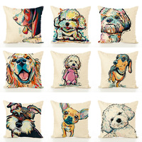 Ready to ship Painted dog linen decorative office home sofa seat cushion cover