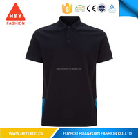 2015 OEM mens slim fit black shirt woven collar polo shirt custom printing polo shirt