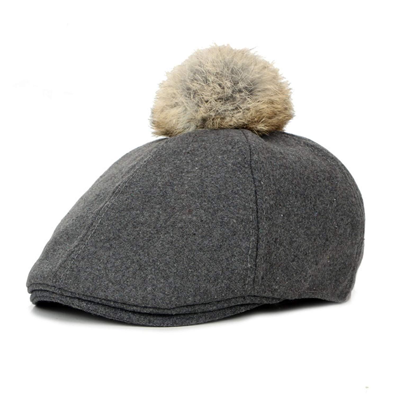 Get Quotations · WAZZIT Wool Blend Newsboy Cap Solid Flat Cap Hair Ball  Duckbill Ivy Irish Cabbie Caps 17cebfc700d2