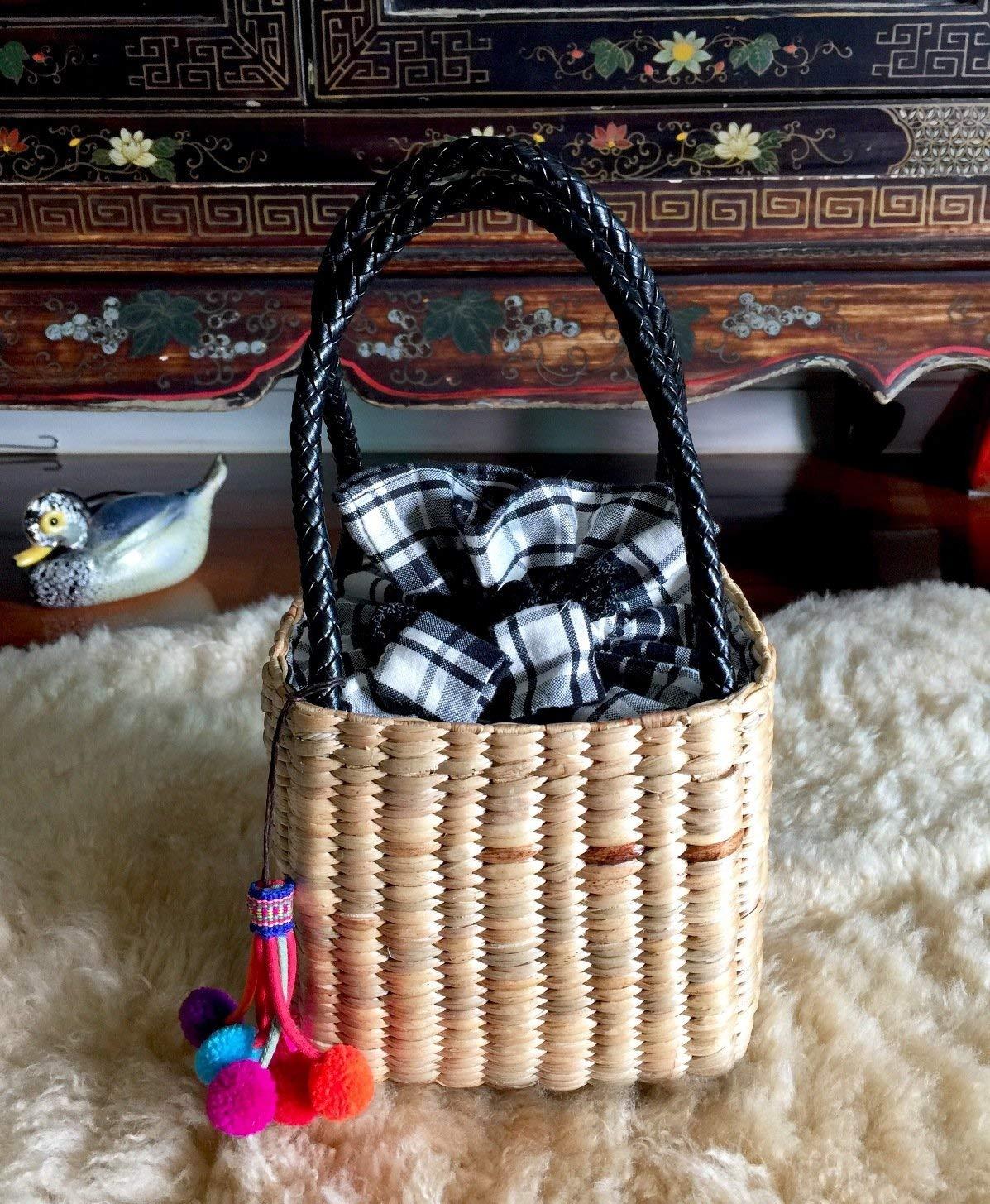 Handwoven Straw Bag,Mini Straw Tote Handbag,Mini Straw Bag,Straw Tote,Straw Basket Bag,Pom Pom Straw Bag,Straw Purse,Pom Pom Bag,Straw Beach Bag
