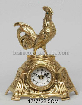 Antique Brass Rooster Table Clock , Luxury Home Decorative Copper Clock